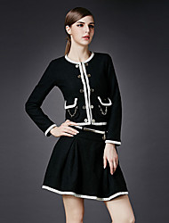 Boutique S Women's Formal Simple Spring Set SkirtSolid Round Neck Long Sleeve Black Cotton / Polyester Medium