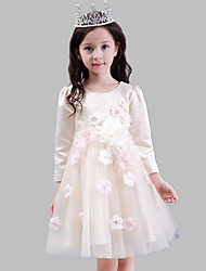 A-line Knee-length Flower Girl Dress - Cotton / Satin / Tulle 3/4 Length Sleeve Jewel with Embroidery / Flower(s)