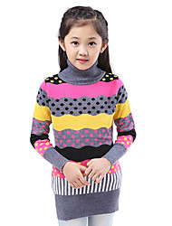 Girl's Casual/Daily Striped Sweater & Cardigan,Wool / Cotton / Acrylic Fall Brown / Gray