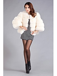 Women's Casual/Daily Simple Fur Coat,Solid Long Sleeve Winter Pink / Red / Beige Faux Fur