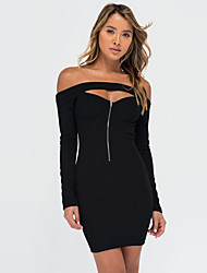 Women's Club Sexy / Simple Bodycon Cut Out Backless Dress Solid Boat Neck Mini Long Sleeve Fall Mid Rise Micro-elastic