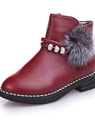 Kids Girl's Boots Spring / Fall / Winter Comfort / Ankle Strap Leather Outdoor / Casual Low Heel Zipper Pink / White / Black and Red