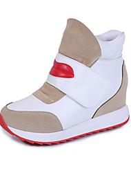Women's Boots Spring Fall Winter Platform PU Outdoor Casual Low Heel Hook & Loop Black White Walking