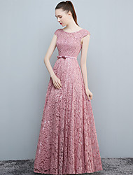 Formal Evening Dress - Open Back A-line Scoop Floor-length Lace with Bow(s)