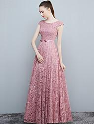 Formal vestido de noite - abrir de volta uma linha de colher de comprimento de chão laço com arco (s)
