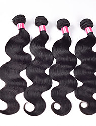 Brazilian Virgin Unprocessed Human Hair Extensions Straight Weaving Machine Made Weft Hair Bundles