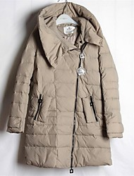 Women's Long Down Coat,Simple Going out Solid-Cotton Polypropylene Long Sleeve Hooded Brown