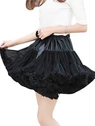 Damen Übergrössen Röcke,A-Linie einfarbig Tüll / Gefaltet,Ausgehen / Lässig/Alltäglich Vintage / Einfach / Street Schick Mittlere Hüfthöhe