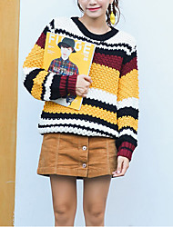 Damen Standard Pullover-Lässig/Alltäglich Niedlich Einfarbig Orange Gelb Rundhalsausschnitt Langarm Polyester Herbst Winter Mittel