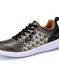 Masculino-Tênis-Conforto-Rasteiro-Cinza Preto e Dourado Preto e Branco-Couro Ecológico-Para Esporte