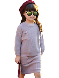 Girl's Casual/Daily Solid Sweater & Cardigan / Clothing SetWool / Cotton Fall Pink / Purple