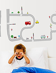 Cartoon The Road Car Wall Stickers DIY Fashion Children's Bedroom Wall Decals