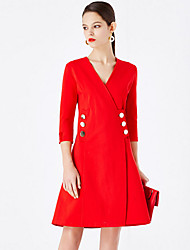 MASKED QUEEN Women's Going out Simple A Line DressSolid V Neck Above Knee  Sleeve Red Cotton