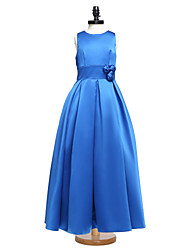 2017 Lanting Bride® Floor-length Satin Junior Bridesmaid Dress Ball Gown Jewel with Sash / Ribbon / Flower(s)