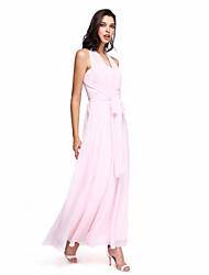 LAN TING BRIDE Longueur Cheville Coeur Robe de Demoiselle d'Honneur - Robe Convertible Sans Manches Mousseline de soie