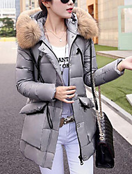 Women's Long Down Coat,Simple Going out / Casual/Daily Solid-Others White Goose Down Long Sleeve Hooded Blue / Red / Black / Gray