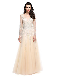 TS Couture® Prom Formal Evening Dress A-line V-neck Floor-length Tulle with Beading