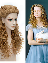 Alice Through the Looking Glass Movice Alice Cosplay Halloween Natural Centre Parting Wave Brown Color Wig High Quality