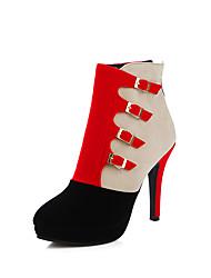 Damen-Stiefel-Lässig-PU-Stöckelabsatz-Modische Stiefel-Schwarz / Blau / Rot