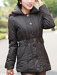 Brand Hight Qualiyt Women's Long Padded CoatSimple Casual/Daily Solid-Cotton Polyester Long Sleeve Hooded Red / Black
