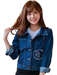 Feminino Jaquetas Jeans Casual Simples / FofoSólido Azul AlgodãoManga Longa Média