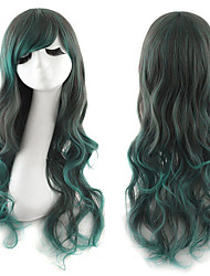 Fashion Harajuku Heat Resistant Black Green Two Tone Ombre Cosplay Lolita WigFree wig cap