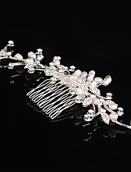 Crystal Pearl Flower Bridal Wedding Hair Comb Silver Plated Handmade Austrian Crystal Hair Jewelry Accessories