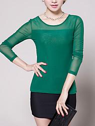 Damen Solide Einfach Lässig/Alltäglich T-shirt,Rundhalsausschnitt Frühling / Herbst Langarm Blau / Weiß / Schwarz / Grün / LilaPolyester