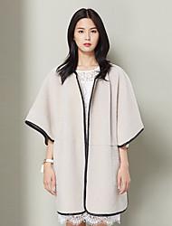 Xuebao Women's Casual/Daily Vintage Fur CoatSolid Round Neck  Sleeve Winter Beige Others Medium