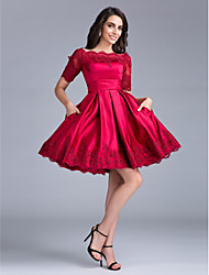Cocktail Party / Company Party Dress Ball Gown Bateau Knee-length Satin with Lace