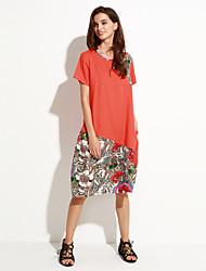 Mulheres Vestido Solto Vintage Patchwork Altura dos Joelhos Decote Redondo Linho