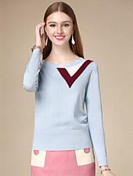 Damen Kurz Pullover-Lässig/Alltäglich Einfach Solide Blau Rundhalsausschnitt Langarm Baumwolle Herbst Mittel Mikro-elastisch