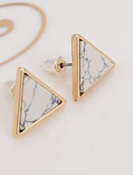 New Arrival Trendy Gold Fashion Triangle Geometric Marbled White Faux Stone Stud Earrings For Women