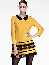 CARBAMMI  Women's Going out Cute A Line DressColor Block Above Knee Long Sleeve Yellow Polyester Fall