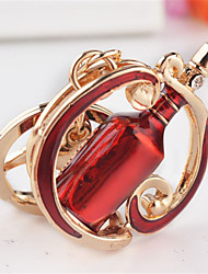 Fashion Red Wine Bottle Car Key Ring  Creative Personality Car Pendant