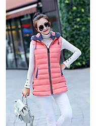 Women's Regular Down Coat,Simple Plus Size Casual/Daily Color Block-Polyester White Goose Down Sleeveless