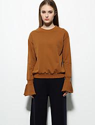 Sweatshirt Femme Décontracté / Quotidien Sortie simple Couleur Pleine Col Arrondi Non Elastique Coton Manches Longues Automne Hiver