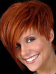 baratos perfeitos venda quente bonito perucas sintéticas short de cor marrom mergulhado em linha reta para mulheres