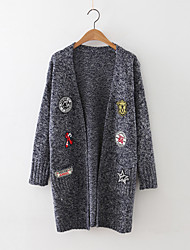 Women's Going out Cute Long Cardigan,Embroidered Blue / Pink / Brown / Gray Halter Long Sleeve Cashmere / Polyester Fall Medium