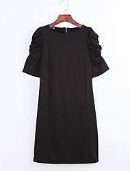 Gaine Robe Aux femmes Décontracté / Quotidien simple,Couleur Pleine Col Arrondi Au dessus du genou ½ Manches Noir Polyester Eté