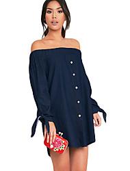 Women's Dark Blue Wash Chambray Bardot Swing Dress