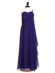Lanting Bride Floor-length Chiffon Junior Bridesmaid Dress A-line One Shoulder with Beading / Sash / Ribbon