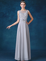 Formal Evening Dress A-line Jewel Floor-length Chiffon with Bow(s) / Lace