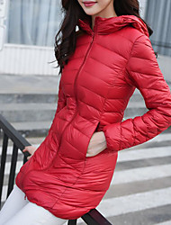 Women's Down Coat,Simple Plus Size / Casual/Daily Solid-Polyester White Duck Down Long Sleeve Stand Blue / Red / Black
