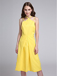 Lanting Bride®Knee-length Chiffon Bridesmaid Dress - Elegant A-line Spaghetti Straps with Pleats