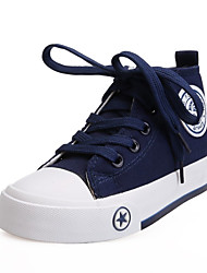 Girl's Sneakers Spring / Fall Round Toe Fabric Casual Flat Heel Lace-up Black / Blue / Red / White Others