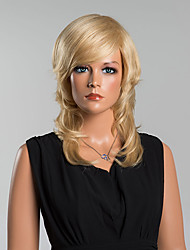 Charming Mid-Length Loose Wavy Capless Wigs High Quality Honey Blonde Human Hair
