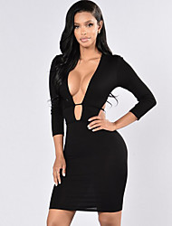 Women's Party/Cocktail / Club Sexy / Simple Bandage Backless Bodycon DressSolid Deep V Above Knee Long Sleeve