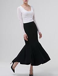 Damen Röcke - Einfach Midi Polyester Unelastisch