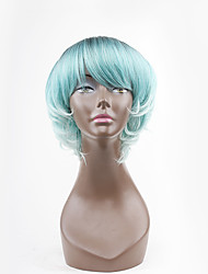 stile caldo blu mista due toni ondulato natual con la frangetta sintetici parrucche senza cappuccio